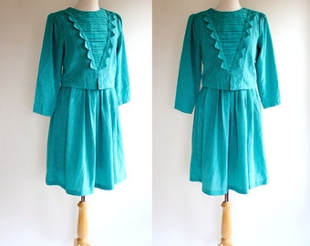 60s Dress / 60s Turquoise Dress / Silk Dress / Vogue / Mad Men Dress / Nautical Inspired Dress