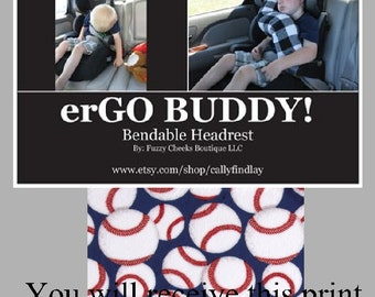 Travel Support Neck Pillow erGO BUDDY Bendable baby / toddler headrest carseat pillow and cover in Baseball
