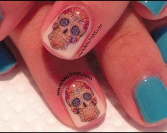 Sugar Skull Nail Decal Set # 2 Dia de Los Muertos Skulls Design, Nail Art Day of the Dead nail wrap