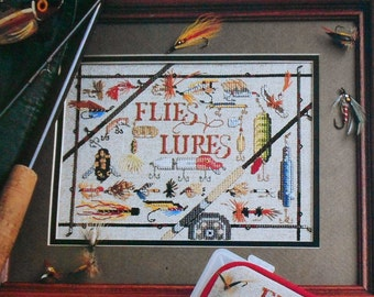Flies & Lures FISHING SAMPLER - Counted Cross Stitch Pattern Chart - fam