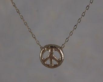 14k PEACE SIGN, SILVER Peace Sign Necklace, Peace Necklace, 14k gold peace sign,hippie peace sign, gold peace sign, rose gold peace sign
