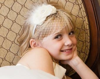Holy Communion Headband Birdcage Veil  Baptism Headband   Vintage Christening Headband .. Flower Girl Headband Ivory Pink Aqua