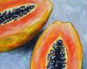 Papaya Melon - Still life oil painting, kitchen art, food and fruit