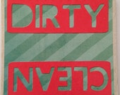 Dirty and Clean Dishwasher Sign Velcro or a Magnet-  green stripes with bright coral dirty and clean words