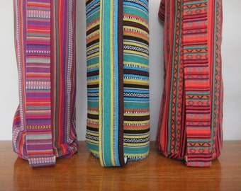 YOGA mat bags - beautiful / heavy duty Mexican woven fabric - ROOMY & Easy to use. Pure cotton.