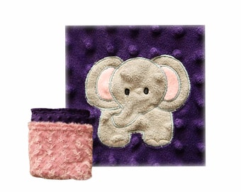 Double Sided Minky Baby Blanket with Elephant Applique, READY TO SHIP