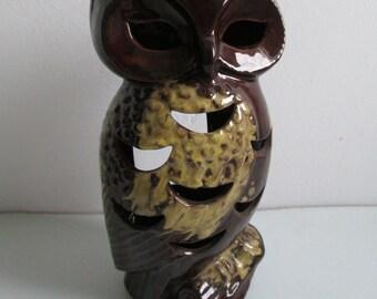 Vintage OWL Candle holder.  Ceramic figure. 1960's.  Mod Kitsch.  Made in Japan