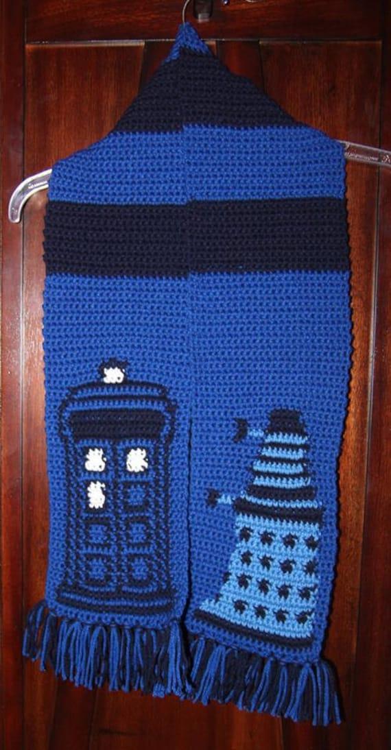 items similar to doctor who tardis dalek scarf pattern on etsy