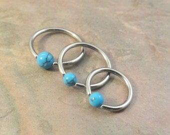 16 Gauge Turquoise Stone CBR Cartilage Hoop Earring Tragus Helix Conch