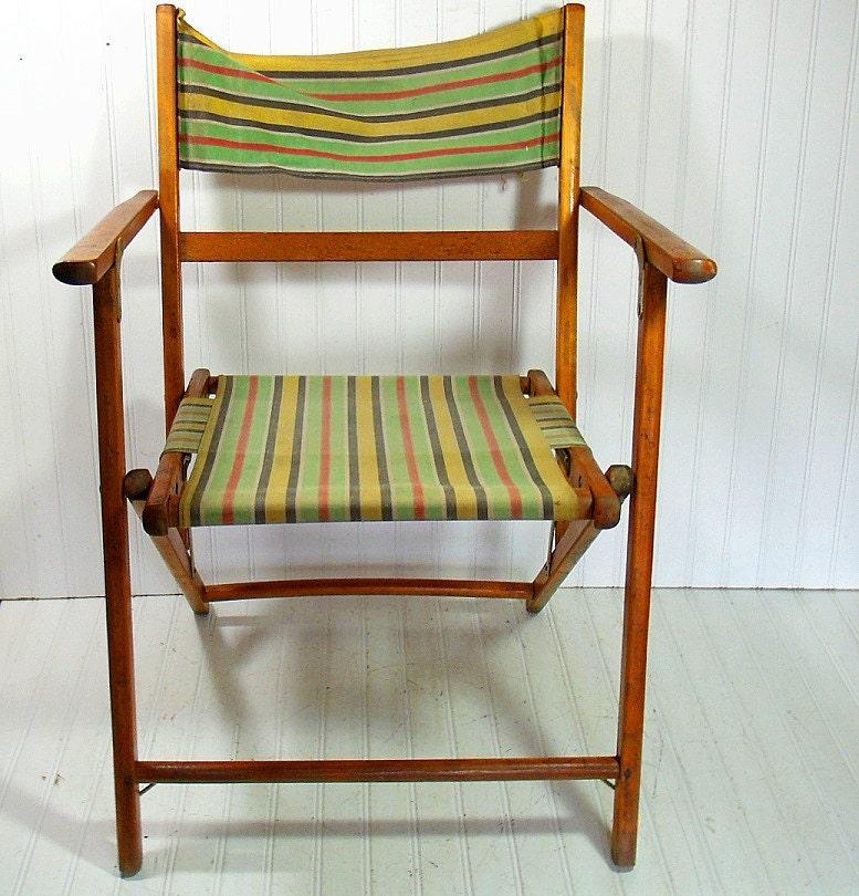 Vintage Bois Et Toile Plage Chaise T Lescope Retro Meubles