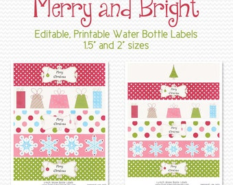 Water Bottle Labels, Merry and Bright, Holiday Party Favor, Party Supplies, Christmas Party Decoration - Editable, Printable, Instant