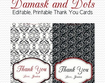 Thank You Cards Black and White Bridal Shower Damask and