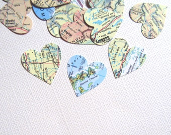 100 Vintage Map Hearts, Paper Die Cuts, Party Decor, Travel Theme, Confetti, Weddings, Showers