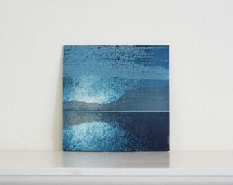"Art Print . Abstract Landscape . Navy Blue : Striation 192 . Print Size 9.5"" x 9.5"" . unframed ."