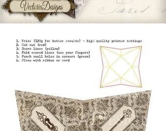 Keys Steampunk pyramid box vintage printable images instant download digital collage sheet VD0452