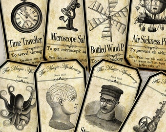 15 Large Steampunk Apothecary Bottle Labels 4.5 x 2.23 inch Jar Labels Halloween digital collage sheet VD0424