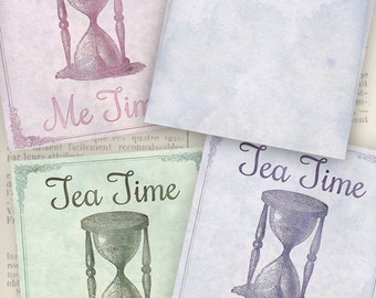 Tea Time Me Time Tea Bag Envelope instant download digital collage sheet VDTESC0806