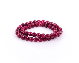 1 Strand Round Dyed Faceted Dark RUBY RED JADE Gemstone Beads, 6mm gjd0004
