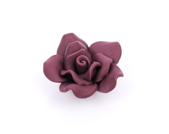 2 Large BURGUNDY WINE Maroon Polymer Clay Rose Beads pol0088
