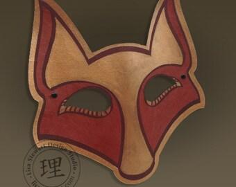 Full Grain Leather Fox Mask - Animal - Halloween - Masquerade - WallArt Hand Painted Vegetable Tan