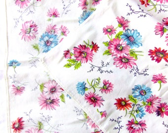 Vintage Screen Printed Floral Table Scarf - Off-white with Pink and Blue Flowers - 18 x 32, Cotton Hemmed, Cottage Chic, Shabby Chic
