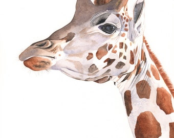 Giraffe Painting - giraffe watercolor painting - print of watercolor painting A4 size medium print - Lofty
