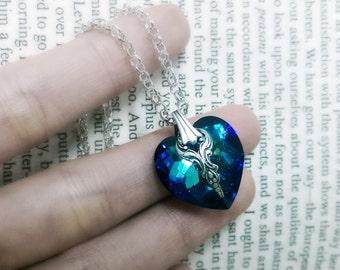 Darling - Swarovski Heart Bermuda Blue Pendant