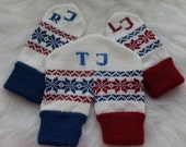 Knitted Mittens, Dual Valentine Mittens, for Lovers Holding Hands in One Glove, with Initials (made to order)