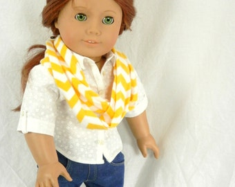 """Sunny Yellow Chevron Jersey Infinity Scarf for 18"""" Dolls Handmade by Thimbledoodle"""