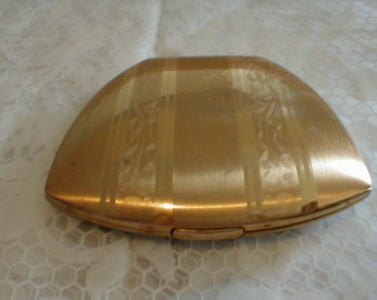 vintage elgin american clam shell compact gold plated