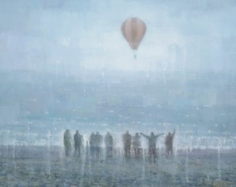 Hot Air Balloon Painting Signed Giclee Print 18x9 inches