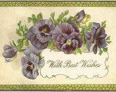 "Purple Pansy Flowers ""With Best Wishes"" Vintage Postcard 1912 Postmark Waterford Wisconsin"
