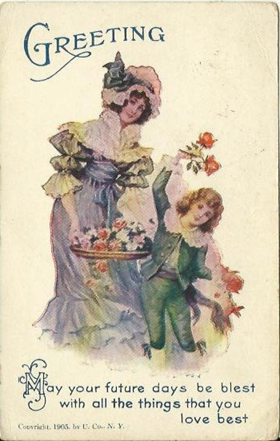 "Antique Postcard Greeting ""May your future days be blest with all the things that you love best""  1905 Edwardian Ephemera"
