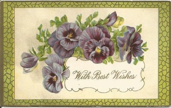 "Antique Postcard Pansies Pansy Flowers ""With Best Wishes"" 1912 Postmark  Waterford Wisconsin Ephemera"