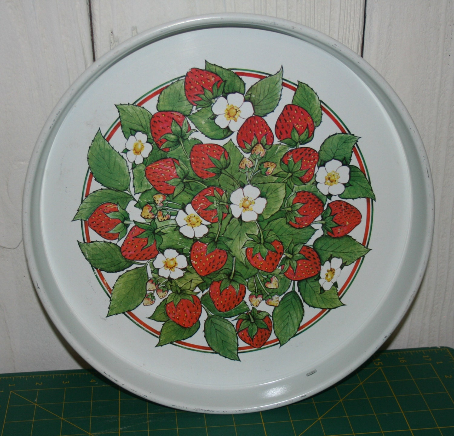 strawberry tray vintage metal kitchen decor green by