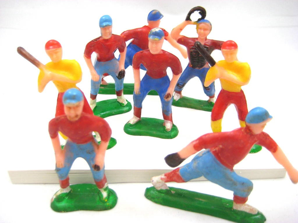 Vintage Hard Plastic Toy Miniature Baseball Players Catcher