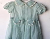 kids BOHEMIAN peasant MINT DRESS