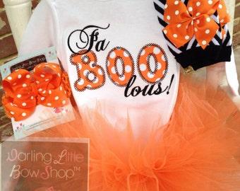 Baby Girl Outfit for Halloween -- Fa BOO lous -- Tutu, bow, leg warmers & Bodysuit -- black, orange polka dot and chevron
