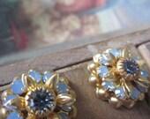 Vintage Swarovski Blue Opal  Crystal Flowers