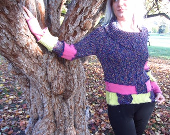 Purple, Lime Green, and Pink UP-Cycled Sweater with Buttoned Coller Size SMALL/MEDIUM