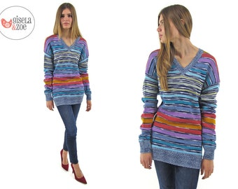 Vintage 90s Missoni Space Dyed Knit Top Slouchy Tunic Over-sized Top / xs sm md