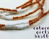 Traditional Waist Beads: Amber Brown and White