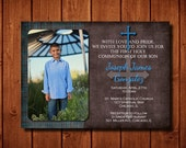 Joseph James Baptism First Communion Christening Baby Dedication Invitation