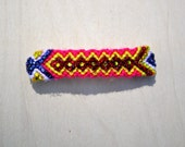 Friendship Bracelet Hair Clip with Crystal Accents- pink, red, yellow, blue, white