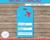 Airplane Luggage Tags or Favor Tags - Thank You Tags - INSTANT DOWNLOAD with EDITABLE text template - you personalize at home