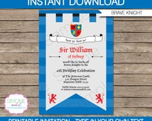 Medieval Knights Party Invitation - INSTANT DOWNLOAD - Editable Birthday Party PDF file you personalize at home with Adobe Reader