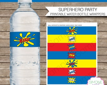Superhero Party Water Bottle Labels or Wrappers - INSTANT DOWNLOAD Printable Birthday Party Template