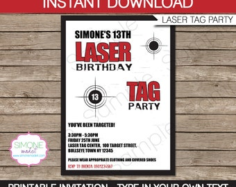 Laser Tag Invitation Template - Birthday Party - INSTANT DOWNLOAD with EDITABLE text - you personalize at home