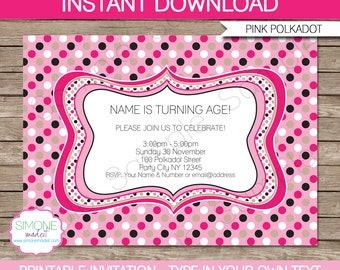 Pink Polkadot Invitation Template - Birthday Party - INSTANT DOWNLOAD with EDITABLE text - you personalize at home