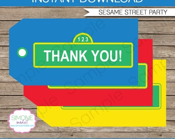 Sesame Street Favor Tags - Thank You Tags - Birthday Party Favors - INSTANT DOWNLOAD with EDITABLE text template - you personalize at home